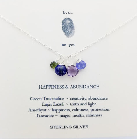 b.u. Happiness And Abundance Necklace on Quote Card