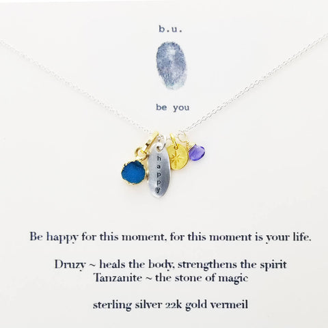 b.u. Happy For This Moment Necklace On Quote Card