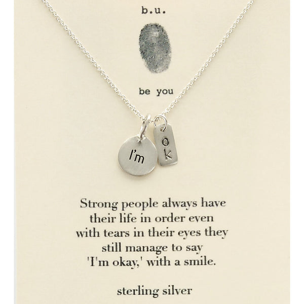 b.u. I Am OK Necklace On Quote Card