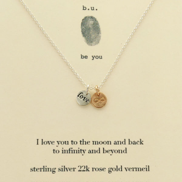 b.u. I Love You To The Moon And Back To Infinity And Beyond Necklace On Card