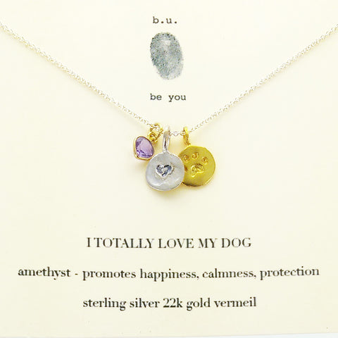 I Totally Love My Dog Charm Necklace On Quote Card