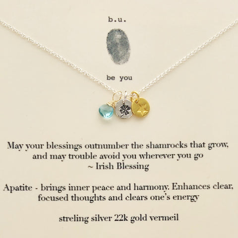 b.u. Irish Blessing Necklace