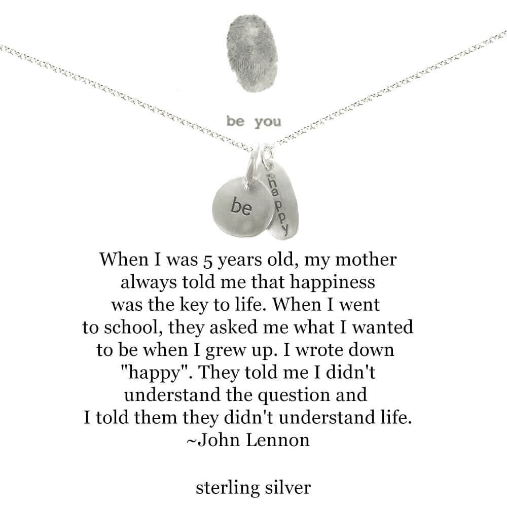 Bu Be Happy Lennon Quote Charms Necklace Sheva Jewelry