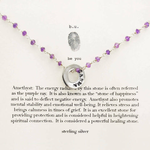 b.u. Karma Charm Amethyst Necklace