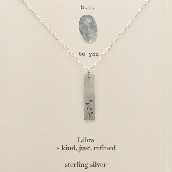b.u. Libra Zodiac Necklace Sterling Silver On Quote Card