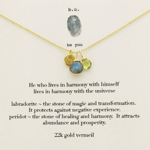 b.u. Live In Harmony Necklace On Quote Card