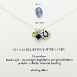 "b.u.""Luck Is Believing You're Lucky"" Necklace on Gift Card"