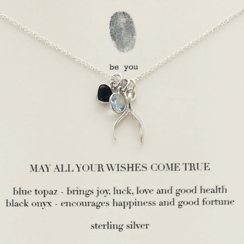 b.u. May All Your Wishes Come True Charm Necklace On Quote Card