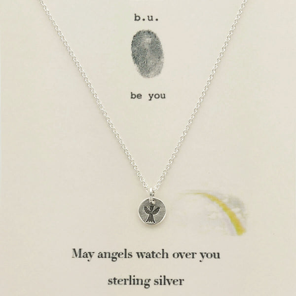 b.u. May Angels Watch Over You Necklace On Quote Card