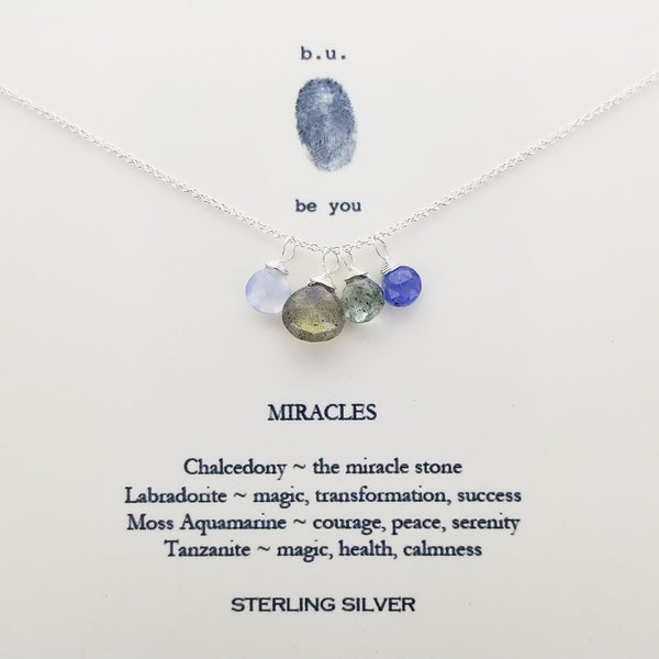b.u. Miracles Necklace On Quote Card