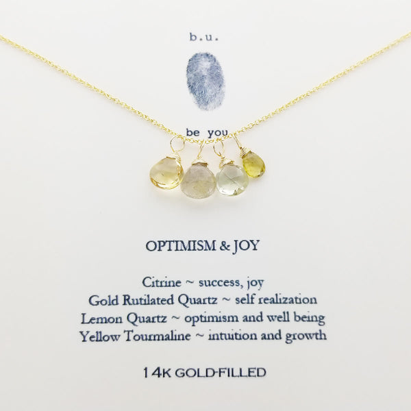 b.u. Optimism And Joy Necklace On Quote Card