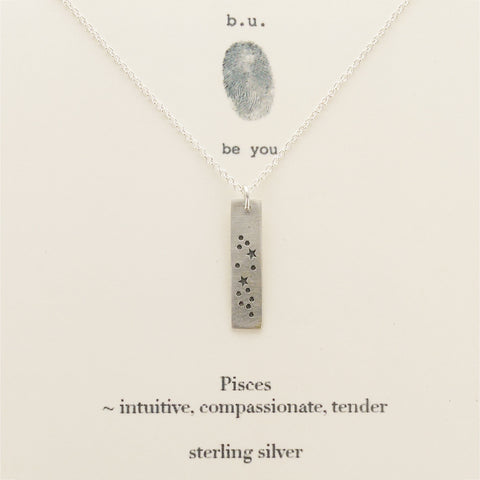 b.u. Pisces Zodiac Necklace Sterling Sliver on Quote Card