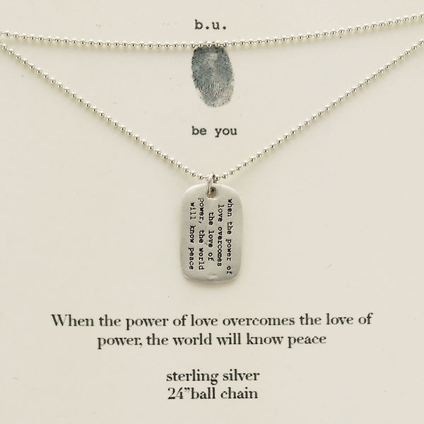 b.u. Power of Love Dog Tag Necklace on Quote Card