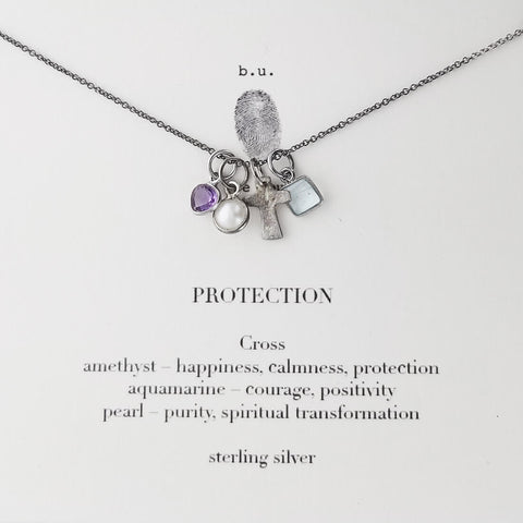 b.u. Protection Cross Amethyst Aquamarine Pearl Necklace