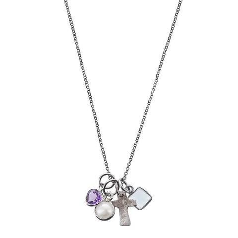 b.u. Protection Cross Amethyst Aquamarine Pearl Necklace Another View