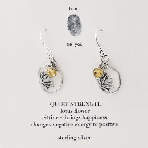 b.u. Quiet Strength Earrings On Quote Card