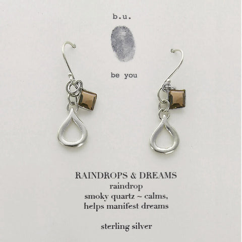 b.u. Raindrops And Dreams Smokey Quartz With Sterling Teardrops  On Quote Card