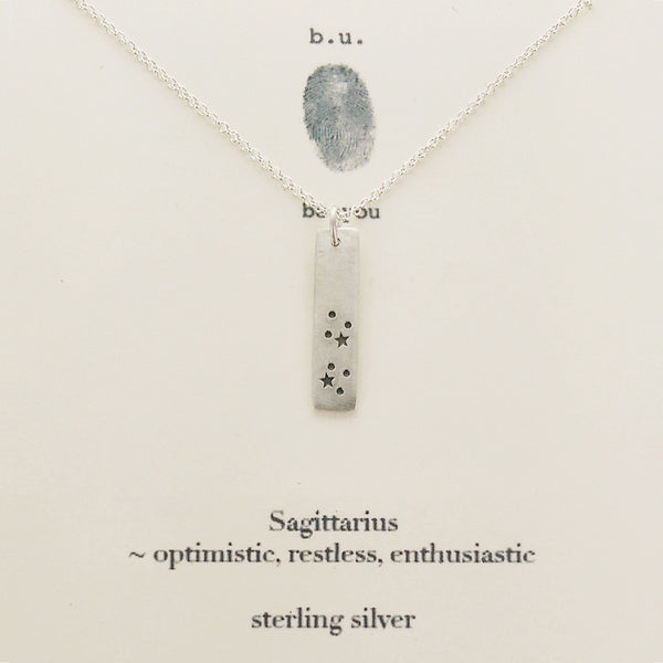 b.u. Sagittarius Zodiac Necklace Sterling Silver on Quote Card