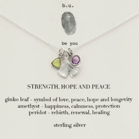 b.u. Strength Hope and Peace Necklace