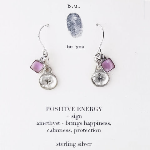 b.u. Symbol of Positivity Earrings on Quote Card