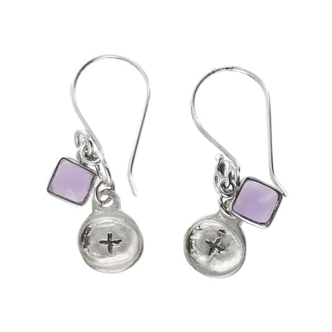 b.u. Symbol of Positivity Amethyst Earrings