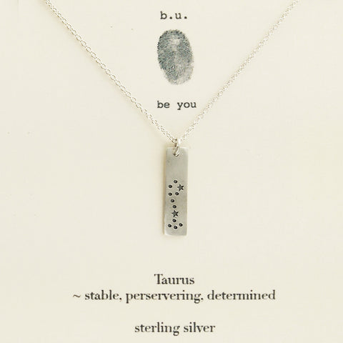 b.u. Taurus Zodiac Necklace on Quote Card