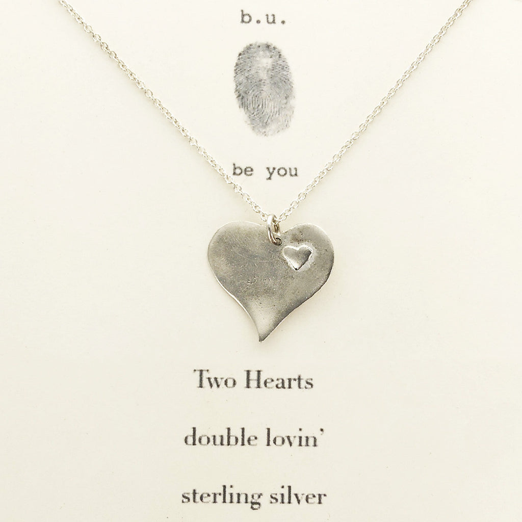 Bu two heart sterling silver necklace sheva jewelry bu two hearts sterling necklace on gift card aloadofball Image collections