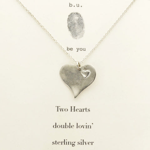 b.u. Two Hearts Sterling Necklace On Gift Card