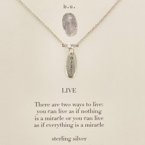 b.u. Two Ways To Live Miracle Necklace, Einstein Quote