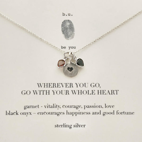 b.u. Wherever You Go, Go With Your Whole Heart Necklace Quote Card