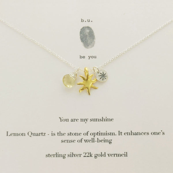 b.u. You Are My Sunshine Necklace On Quote Card