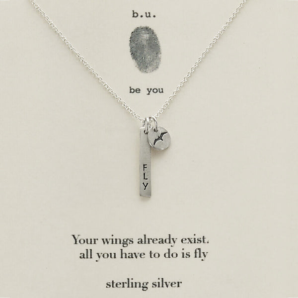b.u. Your Wings Already Exist Necklace On Quote Card
