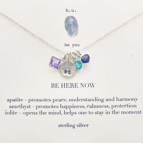 b.u. Be Here Now Necklace On Quote Card