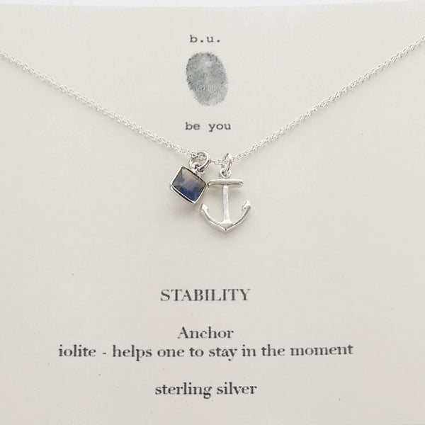 b.u. Iolite Stability Necklace On Quote Card