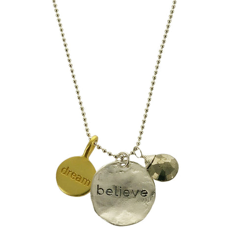 b.u. The Future Belongs To Those Who Believe In The Beauty Of Their Dreams Eleanor Roosevelt Quote Necklace
