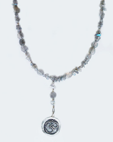 Om Pendant Necklace With Labradorite