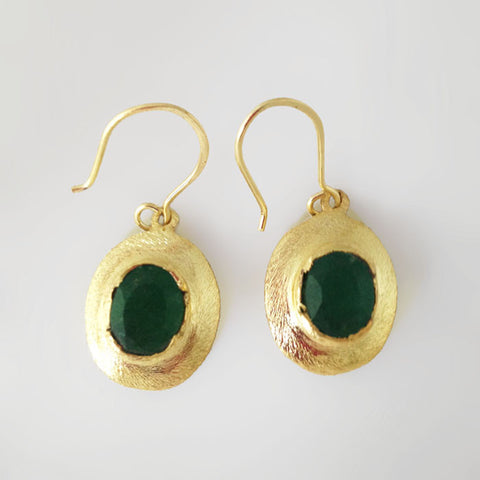 Betty Carre Gold Emerald Earrings