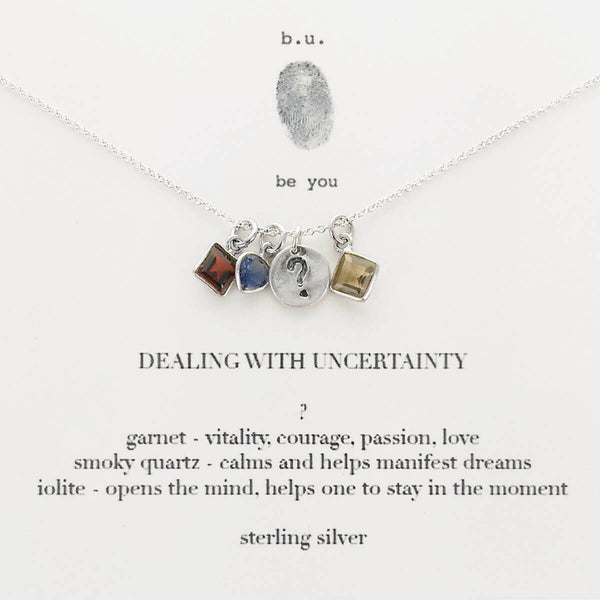 b.u. Dealing With Uncertainty Necklace On Quote Card