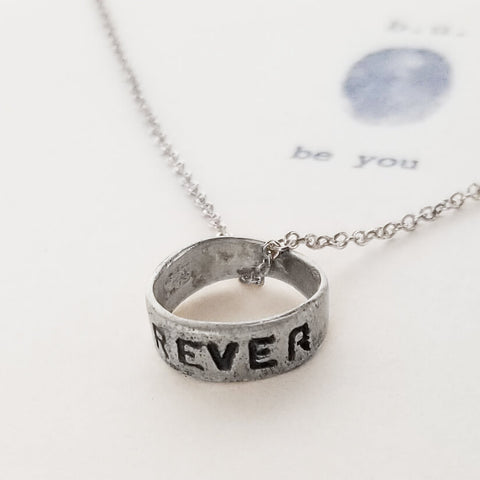 b.u. Forever Ring Necklace Side View