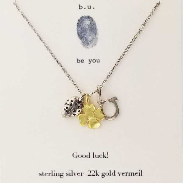 b.u. Good Luck Necklace Ladybug Horseshoe Clover