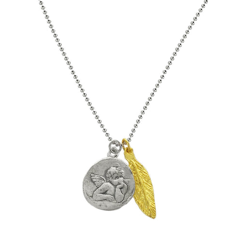 b.u. Protection Necklace With Angel and Feather
