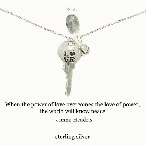 b.u. Jimi Hendrix Love Quote Key Necklace