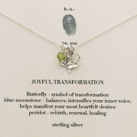 b.u. Joyful Transformation Butterfly Necklace On Quote Card