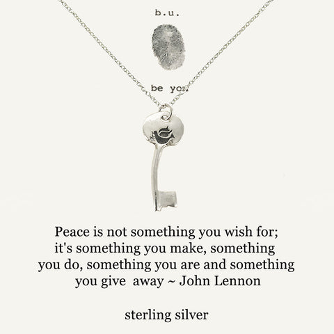 b.u. John Lennon Peace Quote Key Necklace