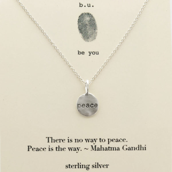 b.u. Peace Is The Way Necklace on Gandhi Quote Card
