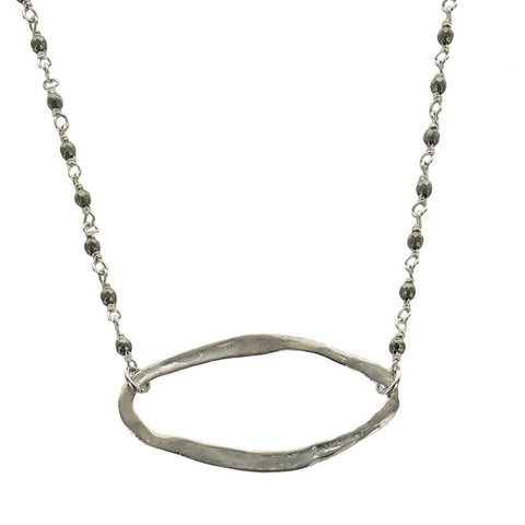 b.u. Pyrite Oval Necklace