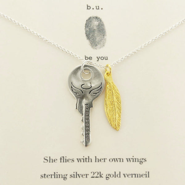 b.u. She Flies With Her Wings Key Necklace