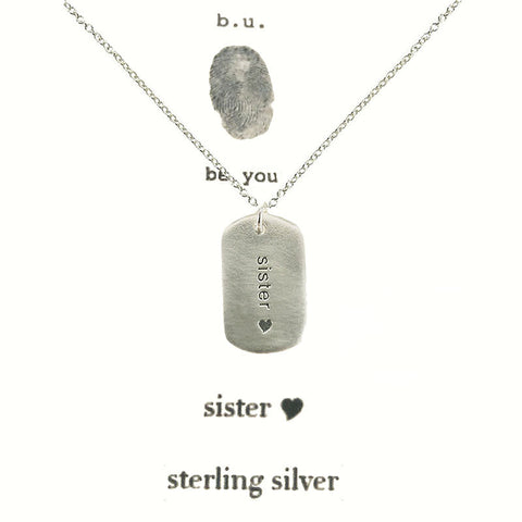 b.u. Sister Heart Dog Tag Necklace