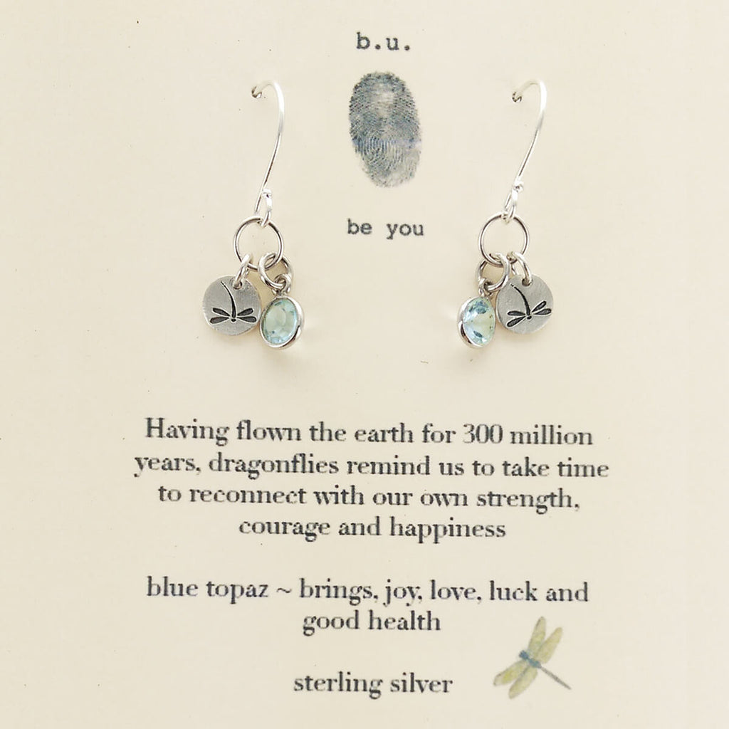 Bu Strength Courage Happiness Dragonfly Earrings Sheva Jewelry