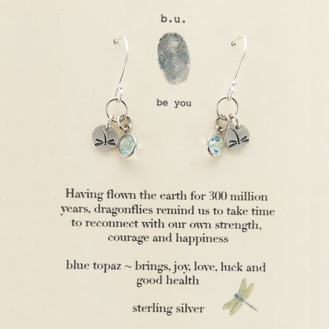 b.u. Strength Courage Happiness Dragonfly Earrings on Quote Card